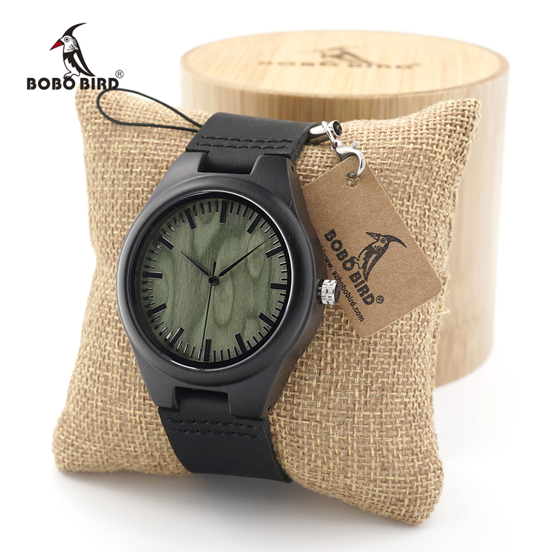 BOBO BIRD Nature Ebony Wooden Quartz Wrist Watch Green Wood Dail for Men Women with Genuine Leather Band in Gift Box bobo bird luxury bamboo wood men watch with engrave flower bamboo band quartz casual women watch full wooden watch in gift box