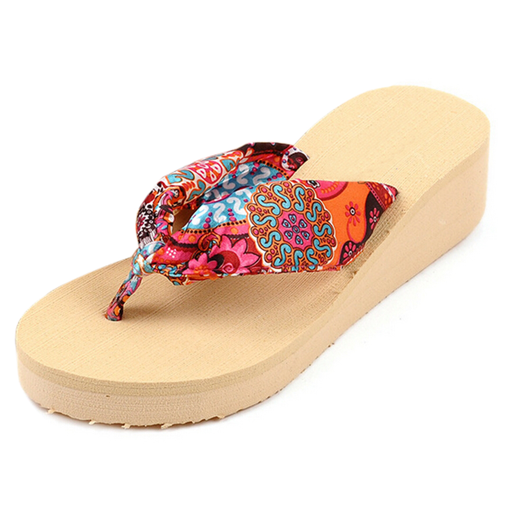 DCOS Summer Bohemia Flower Women Flip Flops Platform Wedges Women Sandals platform Flip Slippers Beach Shoes women summer slippers striped pattern indoor outdoor beach flip flops shoes women ladies wedges platform flip flops zapatos