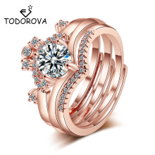 Todorova New Gorgeous Three Rings Set for Women Girls Cubic Zircon Crown Open Rings Three in One Creative Jewelry Gift final girls three girls three tragedies one unthinkable secret