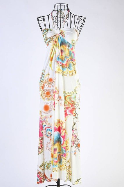 European style hanging neck sling beach Bohemian Dress