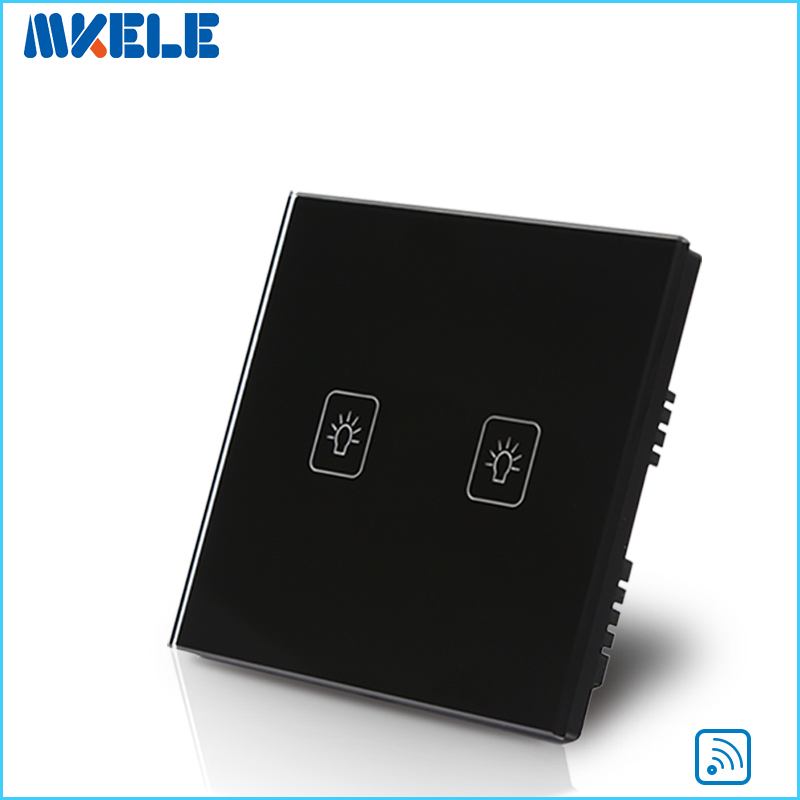 UK Standard Remote Touch Switch Black Crystal Glass Panel 2 Gang 1 Way Control Wall With LED Indicator Switches Electrical eu uk standard sesoo remote control switch 3 gang 1 way crystal glass switch panel wall light touch switch led blue indicator
