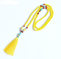 New Design Yellow Crystal Turquoise Beads Handmade Tassel Pendant Long Necklace Boho Style Knotted Necklace Women
