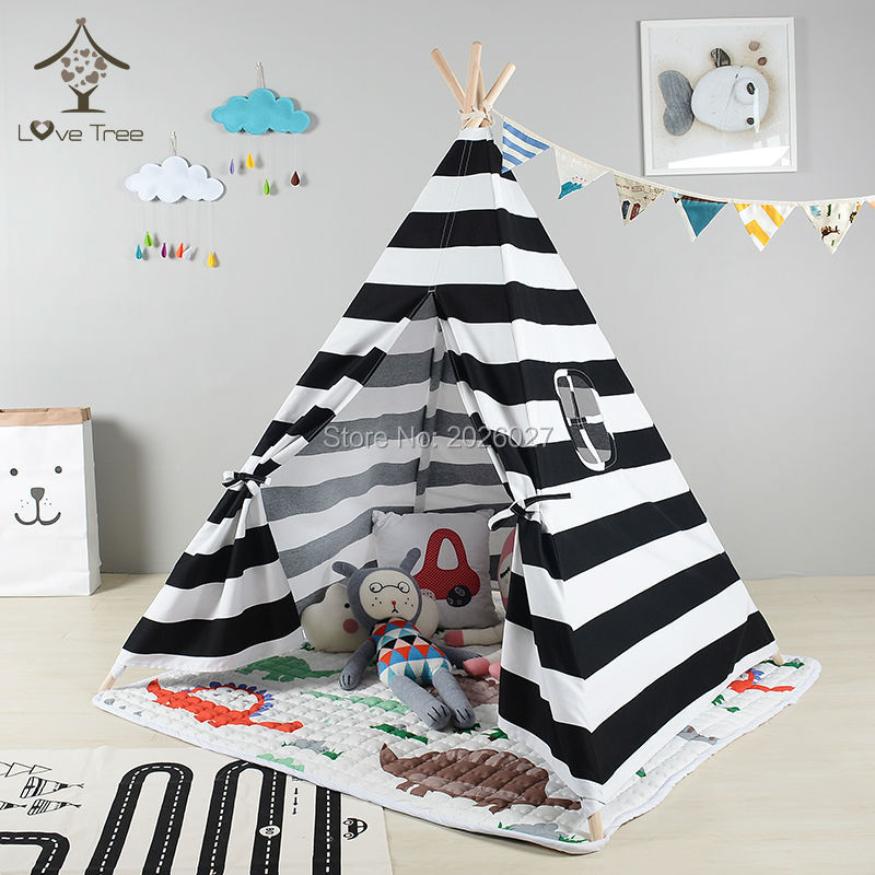 Love Tree Indian Cotton Canvas Teepee baby games toys tent black and white stripe style Kids Teepee Tent free shipping kid tent indian teepee tents
