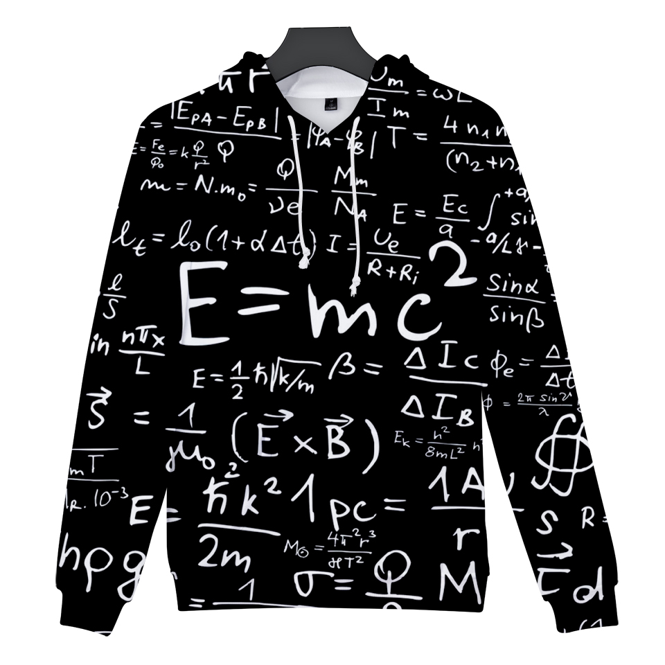 Fashion 3D Sweatshirt Men And Women Einstein Mass Energy Equation Hoodies Harajuku Hip Hop Funny Couples New 2018 Pullovers