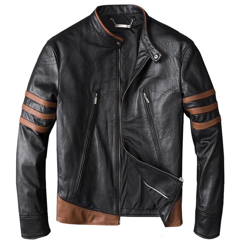 Drop Shipping 2019 Men Black Skull Embroidery Genuine Leather Coats Motorcycle Jacket Real Thick Slim Fit 4XL clothing(China)