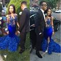 Vestido Azul Royal Sereia Dividir Vestidos de Baile 2017 Sexy Illusion Mangas Compridas Flores Saia Plus Size Africano prom Dresses Vestidos de noite