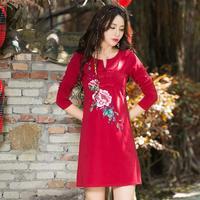 Ethnic Embroidered Shirt 2017 Women Autumn Spring Vintage V Neck Long Sleeve Red Black White Floral