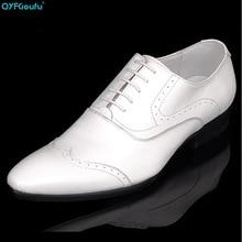 QYFCIOUFU Luxury Dress Shoes Men Designer Shoes Oxford Genuine Leather White Fashion Lace-up Business Wedding Shoes