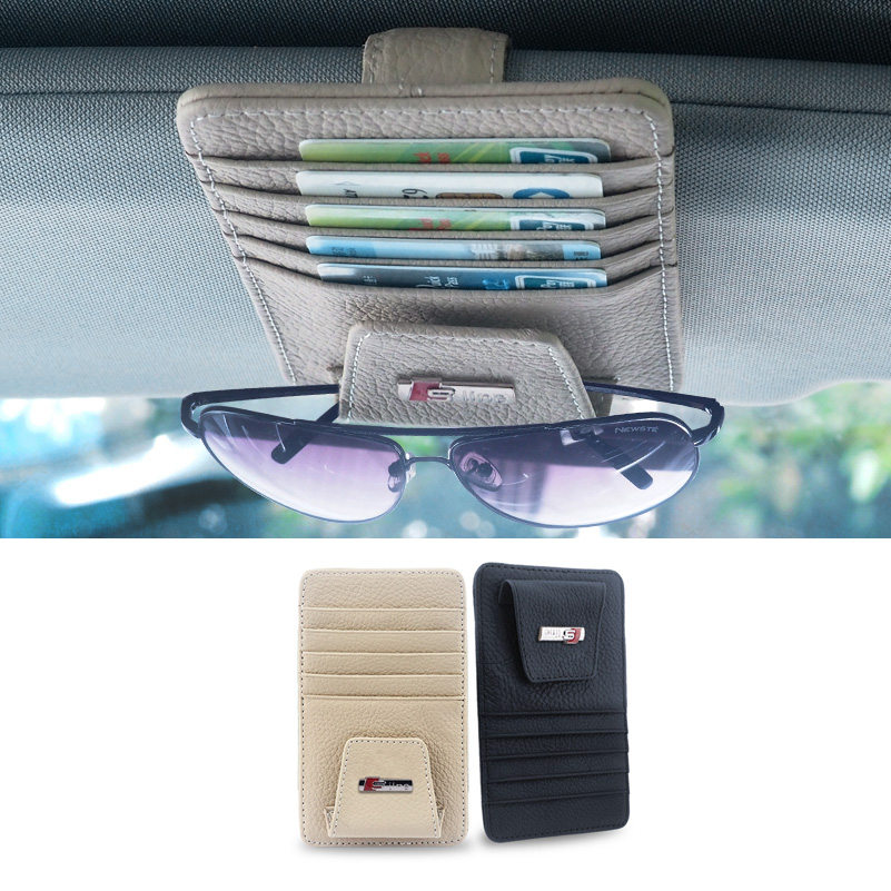 Car Styling Sunglasses Holder Card Case For Audi A4 B6 B8 A6 C5 C6 80 A5 A4 B7 B5 Q7 TT Q5 A3 8P S3 S4 A8 A7 Q3 S LINE Logo oem glove box lights set 8kd 947 415 c 4b0 947 415 a 8d0 947 415 fit vw audi a3 a4 a5 a6 allroad quattro a7 q3 q5 q7 tt