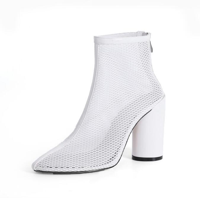 Moraima Snc Hot Selling White Mesh Grid Thick Heels Ankle Boots Round Toe Summer High Heel Shoes Transparent Runway Boots Moraima Snc Hot Selling White Mesh Grid Thick Heels Ankle Boots Round Toe Summer High Heel Shoes Transparent Runway Boots
