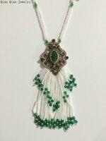 التركية الملكي الأبيض الخرز الشرابة قلادة مجوهرات اكسسوارات للنساء حزب اليدوية الخاصة sweate