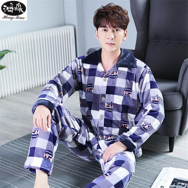 2018 Autumn Winter New Men Pajamas Suit Cardigan Gray Deer Thickened Flannel Pajamas Boutique Suit Pajamas
