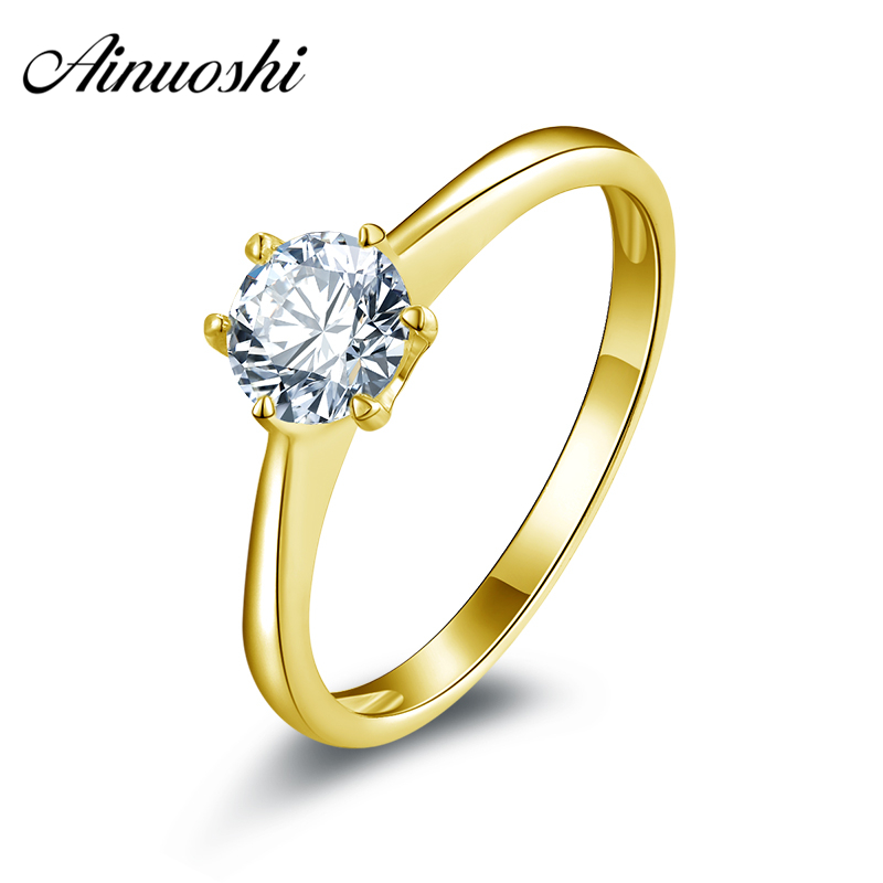 AINUOSHI 10k Solid Yellow Gold Wedding Ring Solitaire 0.63 ct Sona Simulated Diamond Engagement Anelli HOT Women Wedding Rings ainuoshi 10k solid yellow gold wedding ring 1 25 ct solitaire simulated diamond anelli donna brilliant proposal rings for women