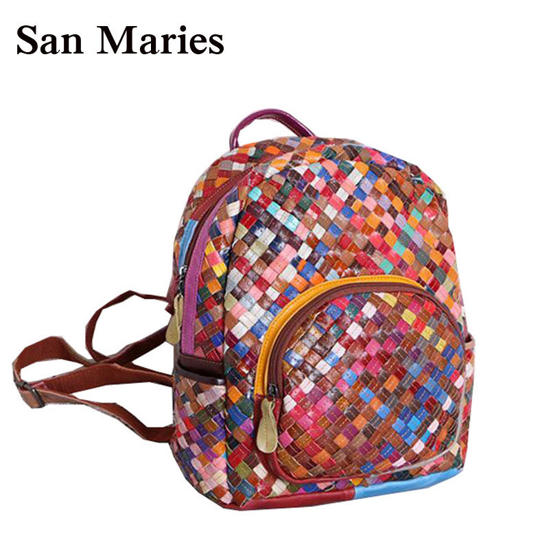 High Quality Leather Mochila School Bags For Teenagers Girls Woven Backpacks