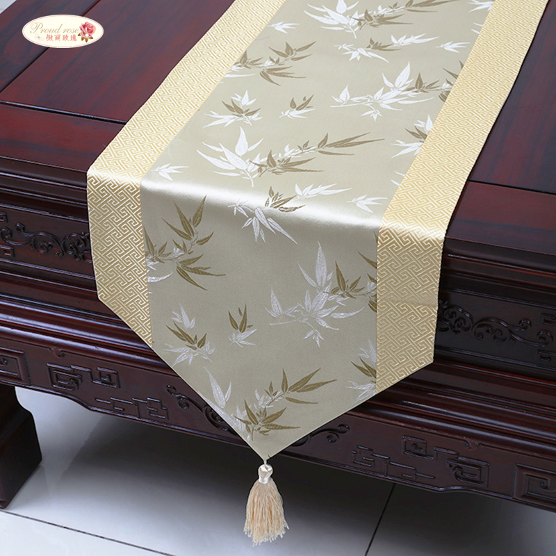 Proud Rose Satin Table Runner Table Flag Table Cloth Simple China Wind Tea Table Runners Bed Flag Home Decoration