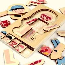 Montessori edukacyjne zabawki dla dzieci drewniane ludzkie ciało Puzzle chłopcy dziewczęta struktura ciała Puzzle dla dzieci zabawki dla dzieci