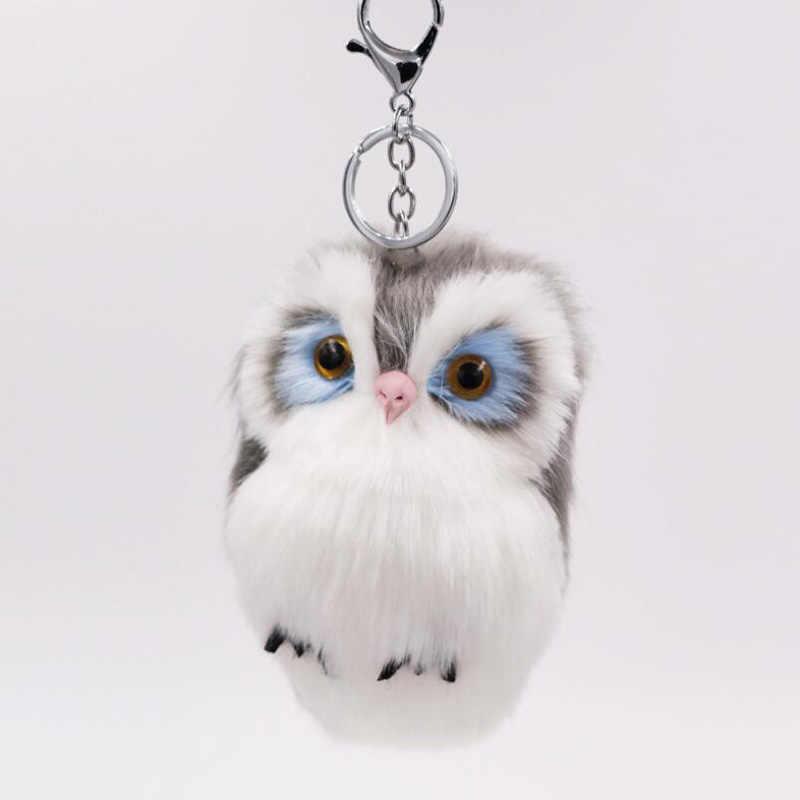15 pçs/lote New hot saco de imitação de pele de coelho pingente de coruja pingente bonito cadeia animal de pelúcia chave do carro