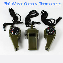 TSAI 1PC New black Whistle Compass -20-50 Degrees Celsius 3 in1 Survival Camping Thermometer Emergency Gear Camping Survival