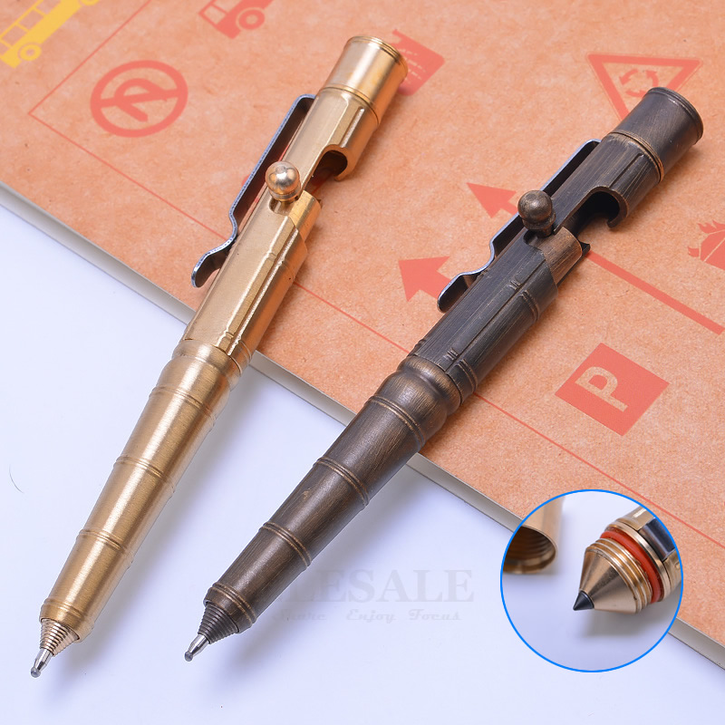 Creative Brass Tactical Pen Self Defense Tool Emergency Glass Breaker For Outdoor Camp EDC Tool Business Collectible Pen Gift