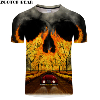 Scenery 3D t shirt Men tshirt Skull T-Shirt Summer Tees Casual Tops Short Sleeve Camiseta Male Streatwea  Asian size s-6xl