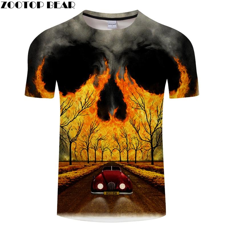 Scenery 3D t shirt Men tshirt Skull T-Shirt Summer Tees Casual Tops Short Sleeve Camiseta Male Streatwea  Asian size s-6xl