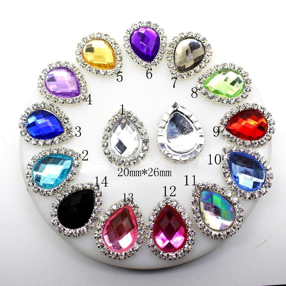 50pcs/lot 25 * 20mm 14 kinds of color water drops Acryl rhinestone button,DIY Girls Accessories For Hair Button Invitation.