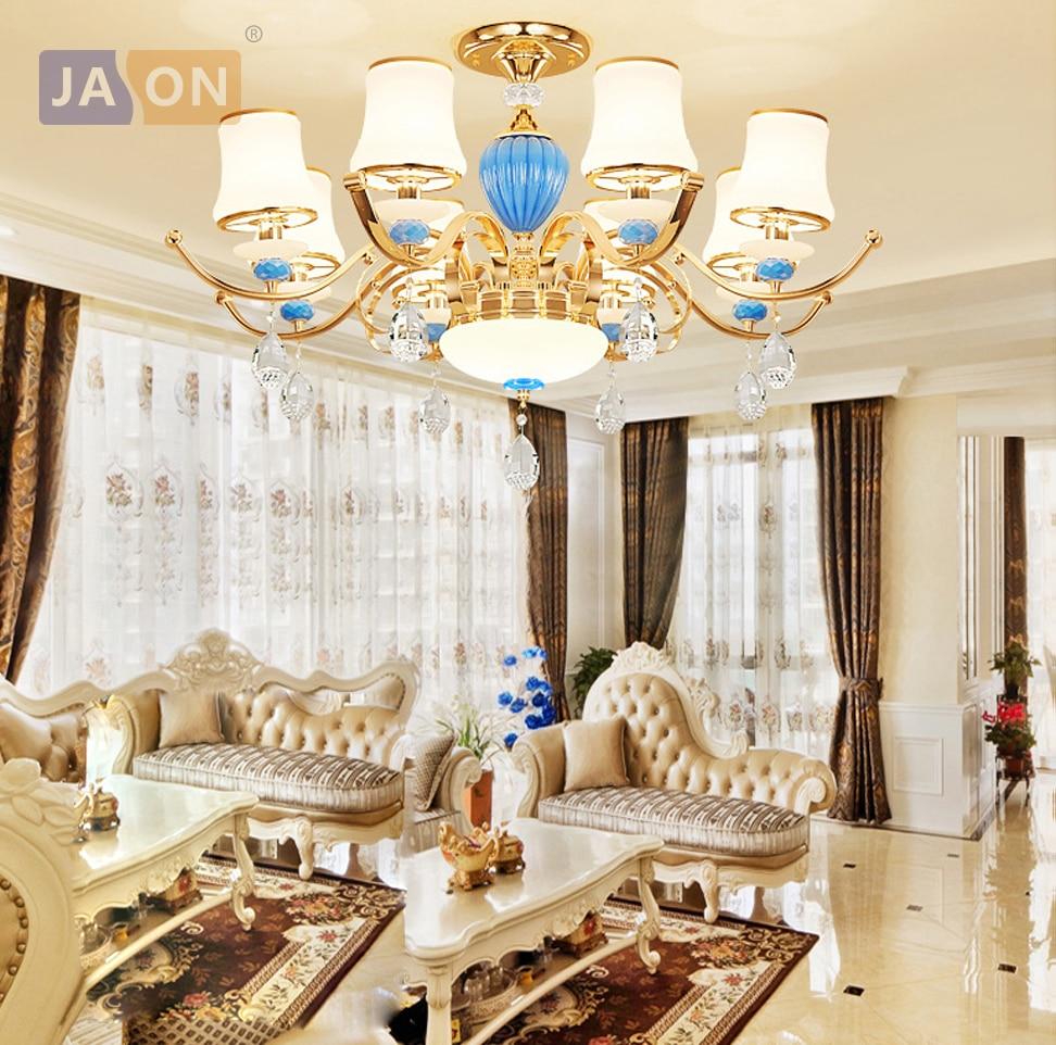 led e14 Postmodern Iron Glass Crystal Gold Blue Chandelier Lighting Lamparas De Techo Suspension Luminaire Lampen For Foyer