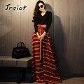JRQIOT 2016 Fashion Autumn Women Party Dress V-Neck High Waist Printing Slim Elegant Long Dresses Vestidos