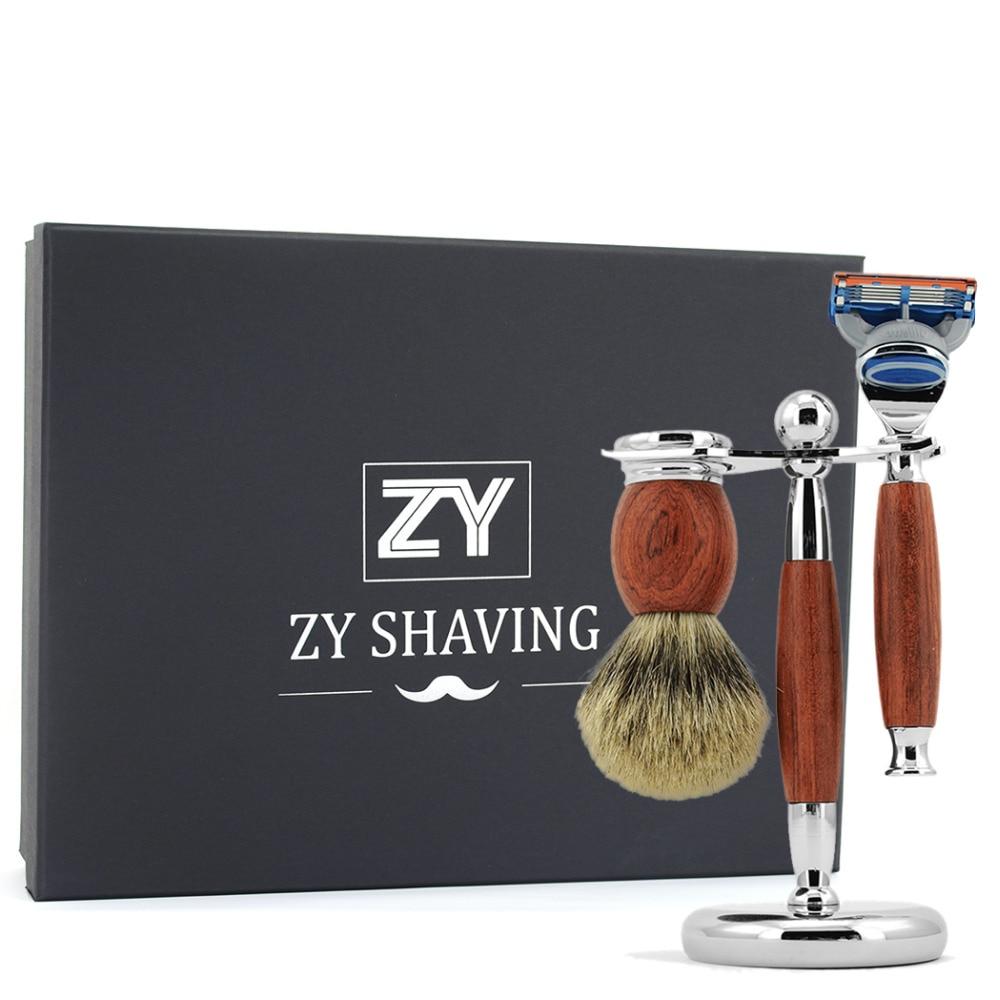 ZY Men 3/5/ Double Edge Blade Safety Shaving Razor Kit Badger Hair Brush+Razor Holder Stand Shave Beard Gift Set Valentine's Day mens badger shaving brush stand razor holder and double head safety straight razor