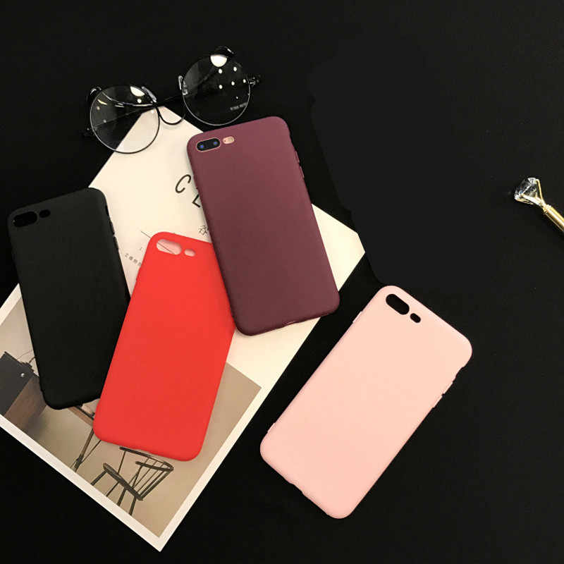 Matte Case Cover untuk iPhone 6 S Phone Case Coque untuk Apple Iphone 6 6 S 7 Plus 8 PLUS 5 SE 6 6 S XS X Max XR Shell Tas