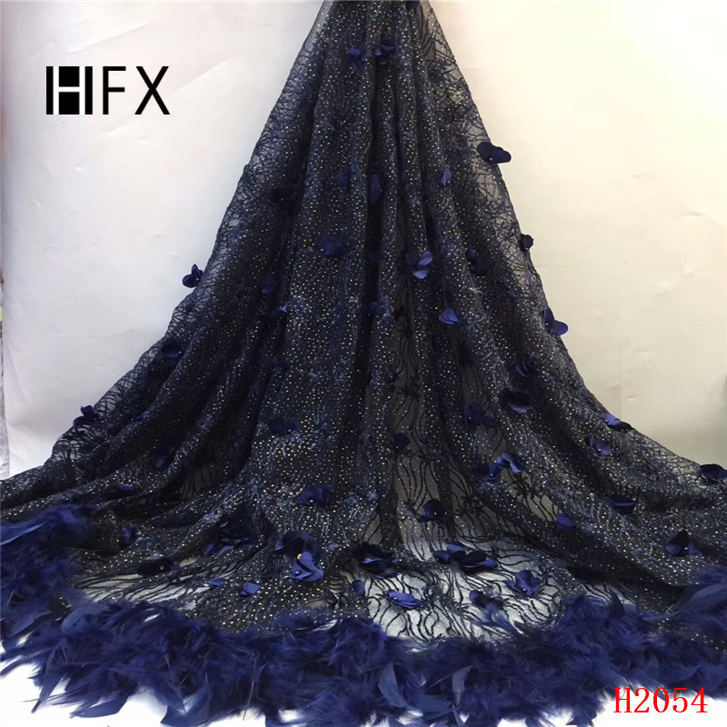 HFX Nigerian French Lace Fabrics Navy Blue Shiny Design Embroidery Tulle Lace 3d Flowers French Lace Fabric with Feathers X2054HFX Nigerian French Lace Fabrics Navy Blue Shiny Design Embroidery Tulle Lace 3d Flowers French Lace Fabric with Feathers X2054