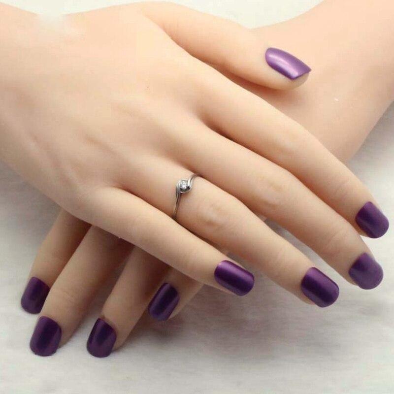 Noble Dark Purple Acrylic Fake Nails Candy Color Lady Nail Nails Of Finger Press On Nail 24pcs 010B