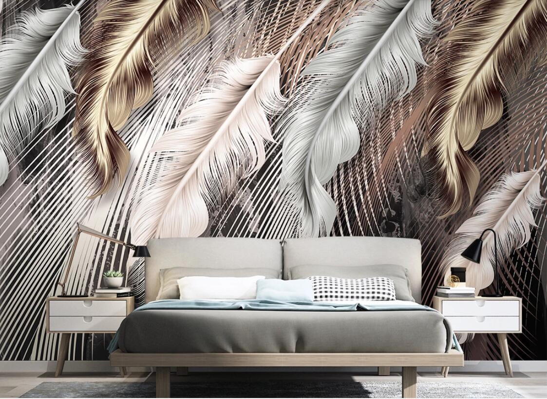Nordic Feather Wallpaper Mural Contact Paper Abstract Wallpaper 3d Wall Papers Home Decor  Makeup Backdrop Custom