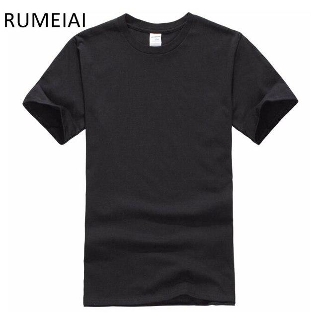 Frete grátis Nova cor Sólida T Camisa Dos Homens Preto E Branco 100% algodão Camisetas de Verão Skate Tee Boy Hip hop Camiseta Tops