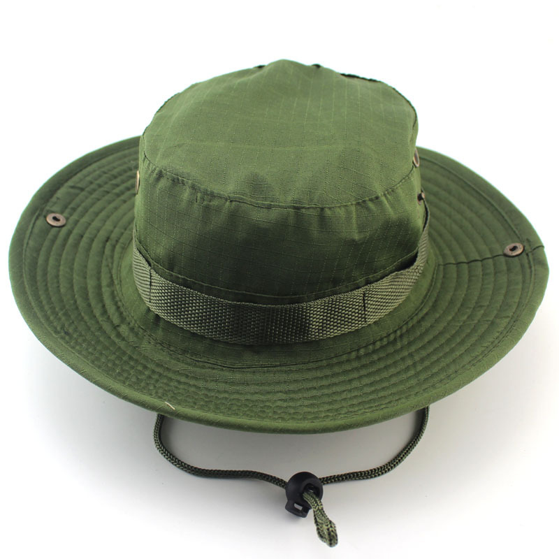 d27d78e0932 Military Tactics Fishing Caps Men Bucket Hat Boonie Hunting Wide Brim Cap  Outdoor Sports Hiking Cap Sunshade Visor Hat