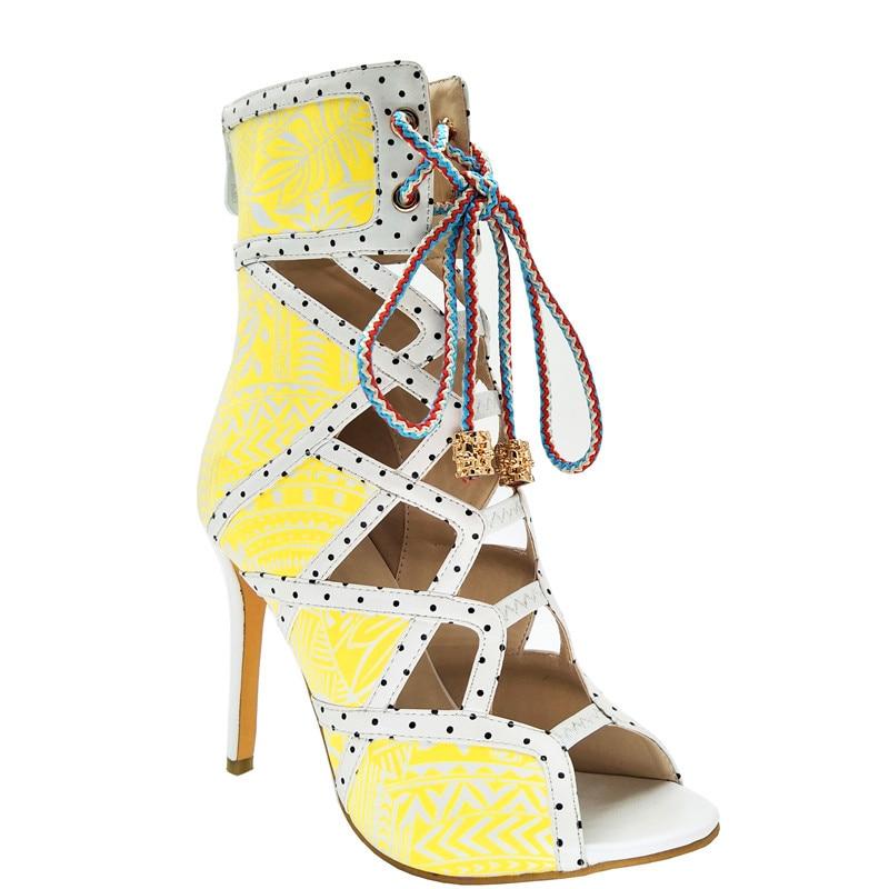 d6211886e49e9 D été Rome Imprimé Chaussures Femmes Spartiates Sexy Bottines Talons Noir Pour  Mince Noir rouge Sandales Dames Évider Hauts ...