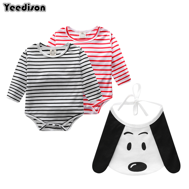 d9049777d45e Yeedison Cute Cartoon Newborn Baby Boy Clothes Striped Baby Girl Rompers+Bibs  2Pcs Outfit Casual Long Sleeve Infant Clothing Set