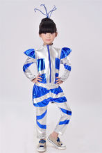 2019 New Kids Animation Drama Robot Dance Costumes Boys Girls Astronaut Space Dance Suit Unisex 110-150cm Dance Robot Cosplay(China)