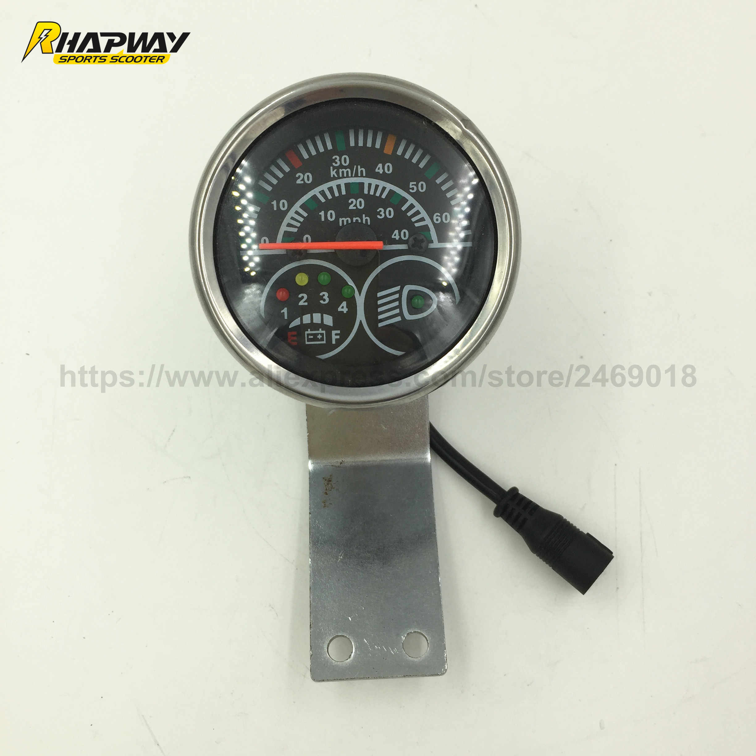 Electric Scooter Speedometer 48V Scooter Speed Indicator with Battery Power&Headlight Indicator, 5-core Wires Male Connector