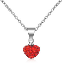 TJP Shiny Crystal Red Heart Girls Pendant Necklace Jewelry Charm 925 Sterling Silver For Lady Party Accessories Vintage