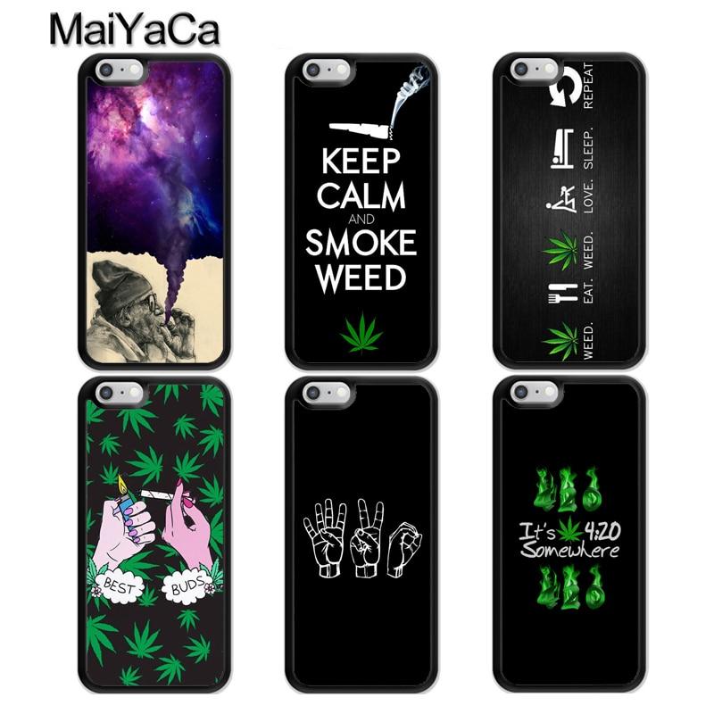 MaiYaCa Smoke Weed Leaf Kush 420 Phone Case For iPhone 7 8 6 6s Plus X 5 5s SE Cover TPU Black Capa For iPhone XR XS Max