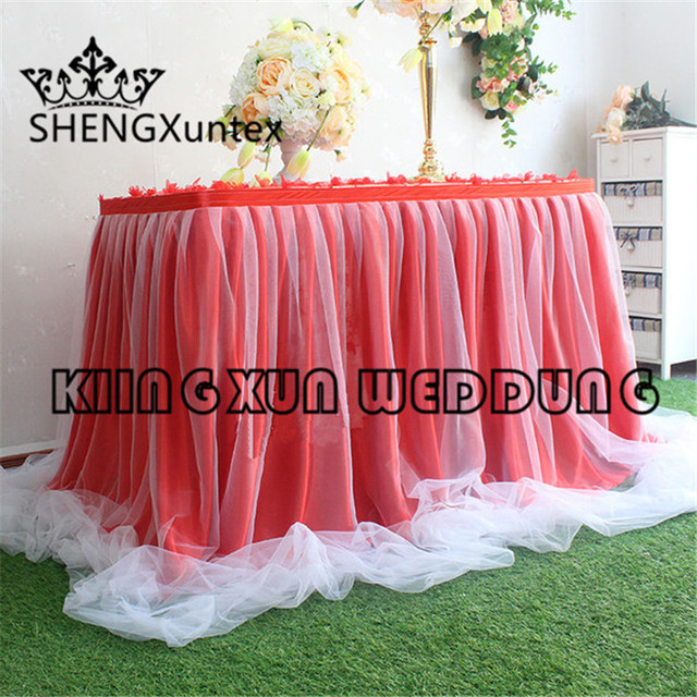 New Design Ice Silk Table Skirt With White Tutu Drape Decoration \ Table  Cloth Skirting Free