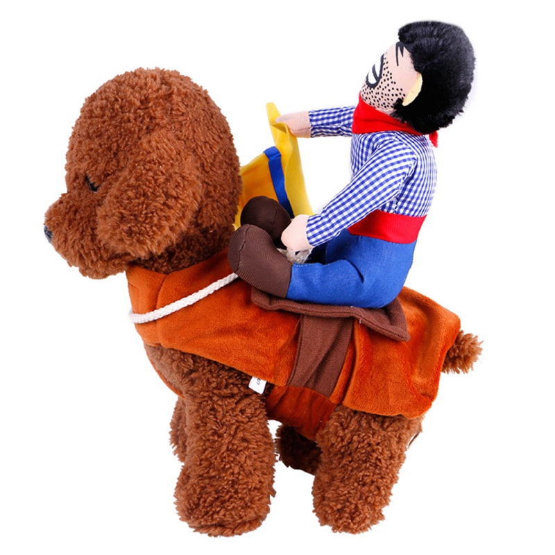 Riding Horse Dog Costume with Cowboy Hat Dog Pet Cat Funny Golden Retriever Halloween Party Custome Clothes