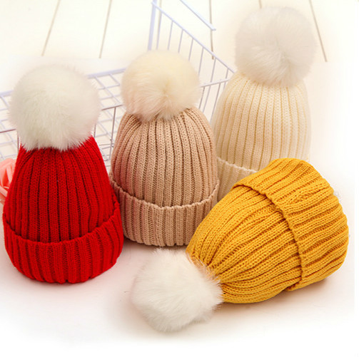 Children Fur Pom Pom Hats Girls Boys Fur Pompom Hat Winter Hat Men   Skullies     Beanies   Women Warm Cap Elasticity Knit   Beanie   Hats