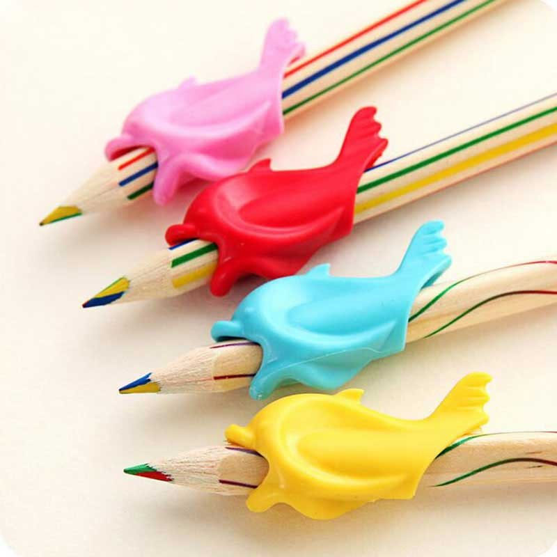 10pc A Lot Of Dolphin Fish Writing Posture Correction Device To Hold A Pen Correction Silicone Stationery Child Student