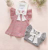 Retail Striped Summer Baby Girls Dresses 2015 Navy Red Princess Kids Dress Long Sleeved Infant Baby