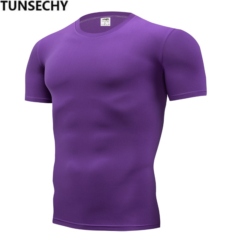 TUNSECHY Brand Clothing Men's Men Fashion Tshirts Fitness For Male Compression Tight Short Sleeve T-shirt S-4XL Free Shipping