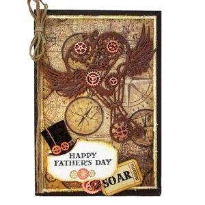 Image 5 - Metal Cutting Dies Steampunk Gear Love Word Dies Scrapbooking Trolley Background Craft Die Cut for DIY Paper Card