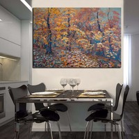 100%Hand Painted Big Size Unique Landscape Handmade Fall Trees Oil Painting Autumn Leaves Oil Paintings On Canvas
