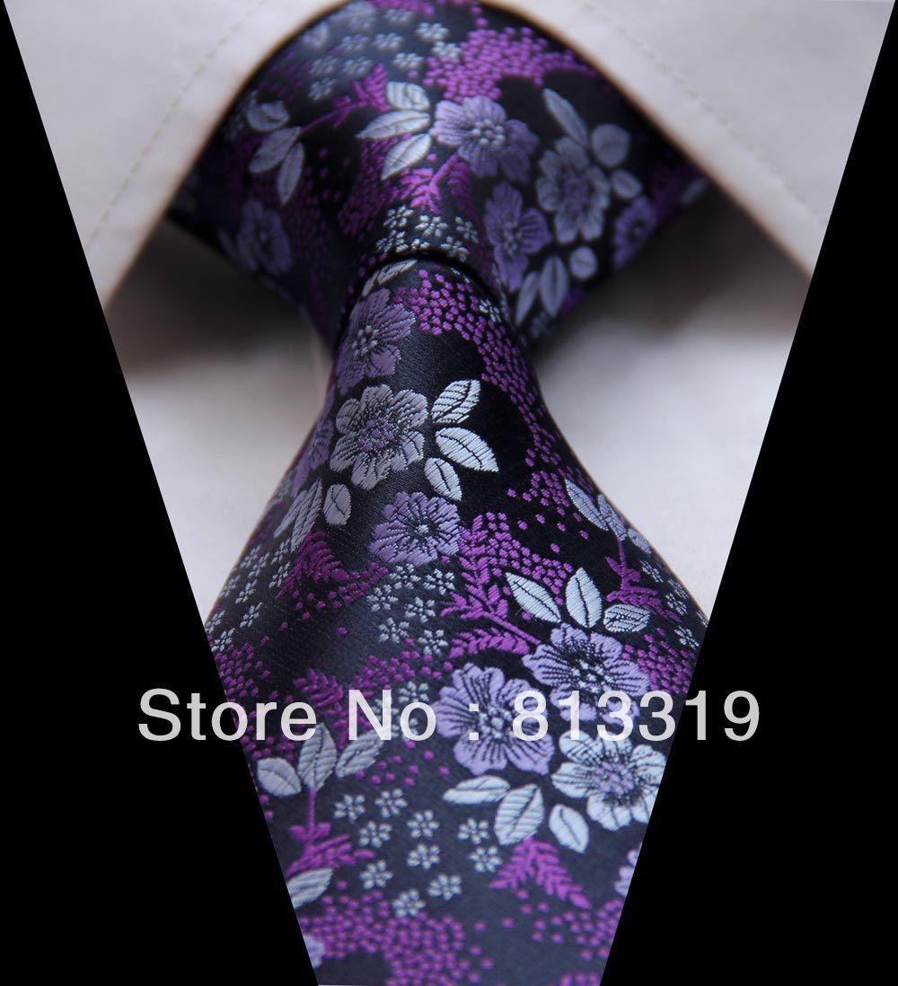 TF2005P Dark Purple Floral 100% Silk New Jacquard Woven Classic Man's Tie Necktie - HISDERN store